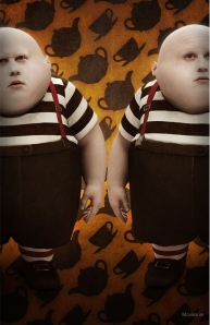 Tweedledum and Tweedledee, played by Matt Lucas in Tim Burton's 2010 film, Alice in Wonderland