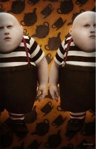 Tweedledum and Tweedledee, played by Matt Lucas in Tim Burton's 2010 film, Alice in Wonderland