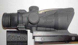 "Trijicon Inc. ACOG gunsight stamped ""JN 8:12"""