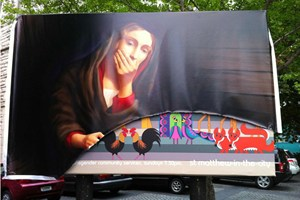 Vandalised St Matthews Christmas Billboard: Arthur Skinner makes it appear as if the Virgin Mary is shocked at animals proceeding two-by-two out of her eternally intact vagina