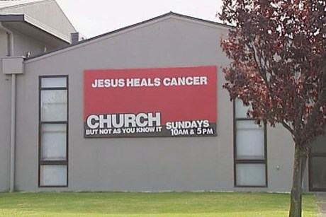 Equippers' Church billboard: Jesus Cures Cancer